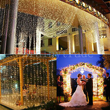 3Mx2M 224 LED Christmas xmas String Fairy Wedding Curtain Light warm white