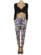 Cameo Leopard Print White Black Blue Tan All For One Pant Drop Crotch Trouser XL