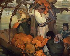 """Saturnino Herrán, The offering, Mexican painter, antique Canvas Art, 20""""x16"""""""