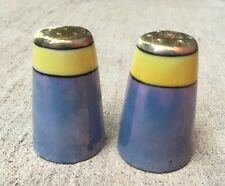 Vintage Mid Century Japan Iridescent Small Salt & Pepper Shakers Shiny Gold Top