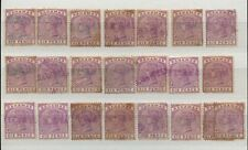 BAHAMAS QV 1890 6d SG54 FISCAL USED + HANDSTAMPS SAWYER + CO...22 stamps
