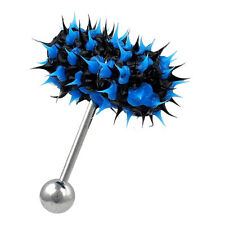 Vibrating KOOSH TONGUE Ring Barbell Soft Body Jewelry Vibe Bell Black & Blue