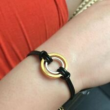 Golden Double Karma Circles Leather Bracelet-Eternity Infinity Friendship Gift