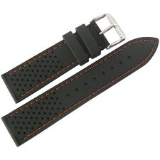 20mm Fluco Germany Black Orange Silicone Rubber Tropic Dive Watch Band Strap Men