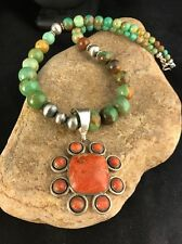 Native American Apple Coral Turquoise  Sterling Silver Necklace Vintage Pendant