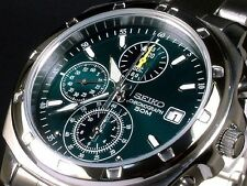 SEIKO SND411P1 Chronograph Green Dial Men's Watch From Japan