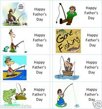 40 x Happy Fathers Day Fishing labels/stickers cakes/sweets/gift bags/presents