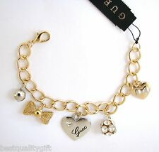 NEW GUESS SILVER+GOLD TONE HEART+BOW+CRYSTAL BALL CHARM BRACELET