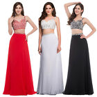 SEQUINS Chiffon Formal Evening Cocktail Gown Party Clubwear Long SEXY Dress
