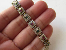 TURKISH RUBY EMERALD 925K STERLING SILVER HANDMADE HURREM SULTAN TENNIS BRACELET