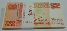 Singapore $2 Orange Ship Banknote Stack Of 100 pcs Rn BH545901~6000 UNC