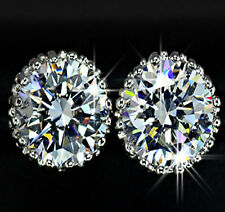 White Gold Plated Sterling Silver 2 Carat Diamond Earring + FREE SHIPPING