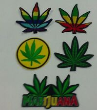SET OF 5 MARIJUANA HEMP CANNABIS WEED EMBROIDERED PATCH SEW IRON