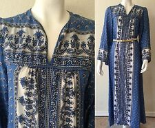 Vtg 70s Cotton Gauze Maxi Dress India Bell Sleeve Caftan Hippie Festival Floral