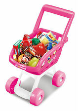 KIDS SHOPPING TROLLEY CHILDRENS ROLE PLAY SUPERMARKET SET WITH FOOD ACCESSORIES