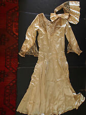 Antique Flapper Brussels Tambour Hand Embroidery Lace Bow Wings Bride Party Gown