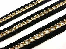 1m x 25mm Wide GOLD Chain Woven Black Lace Trim Ribbon, DIY Fashion GOTH PUNK
