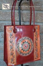 Hand Painted TOOLED Batik Burgundy Brown LEATHER Shantiniketan Handbag INDIA