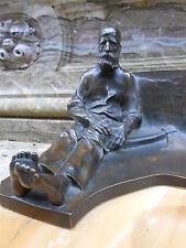 """Ancien encrier bronze et marbre """" dalou """" bucheron au repos bel objet collection"""