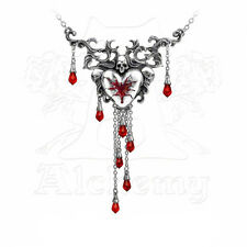 Necklace Collier Alchemy Gothic Bleeding Heart Skull Cœur Sang Crâne Gothique