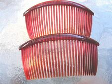 """Shell Red Curved Back Side Comb 31 Teeth 4 1/2"""" Limited Color  Made in USA NEW"""