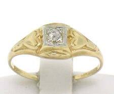 Antique 14k Two Tone Gold Etched Hearts & Diamond Petite Sweetheart Ring