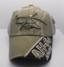 AH-64 Apache Helicopter U.S. Military OD Green Cotton Ball Cap Hat New H21