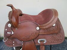 15 BARREL RACING SILVER SHOW WESTERN TRAIL PLEASURE TOOLED LEATHER HORSE SADDLE