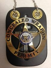 CONCEALED CARRY WEAPONS PERMIT BADGE GOLD W/HERO'S PRIDE LEATHER & NECK CHAIN