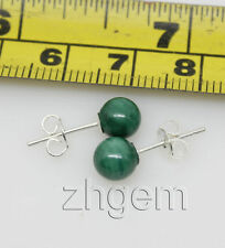 5.5mm natural malachite round beads  studs earring Green, Stone