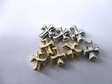 14pcs Plate Gold&Ancient Silver Mixed Retro Cross Charms Spacer Beads DIY 10*8mm