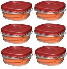 Rubbermaid 1776401 1 1/4-cup Easy Find Lid Food Storage Container Square 6 Pack