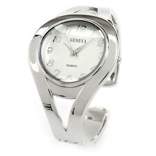 New Silver Metal Double Band Fashion Women's Bangle Cuff Watch