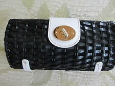 """KATE SPADE BLACK AND WHITE BASKET WEAVE CLUTCH RARE STYLE 9"""" X 5"""" GOLD TURNLOCK"""