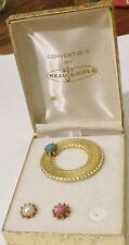 broche bijou vintage signé BEAUJEWELS or cabochon couleur se change boite A18