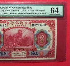 CHINA - UNCIRCULATED 1914 10 YUAN CERTIFIED 64 by PMG.