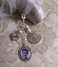 Vintage Inspired White Granddad Memorial Bouquet Photo Charm Wedding/Bridal