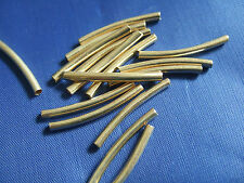 20 x Gold Tone Curved Tube Spacer Metal Beads For DIY Jewelry Making 30x2.5mm