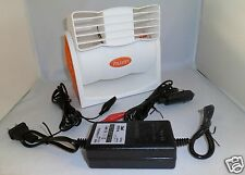12VOLT DC PORTABLE FAN BLOWER COOLER W 12V BATTERY CLIPS, CAR PLUG, & AC ADAPTER