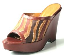new ISABELLA FIORE brown platforms WEDGES shoes Italy 7.5 - exotic