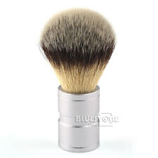 Hair Shaving Soft Brush Silver tip Stainless Metal Handle Barber Tool Shaving L