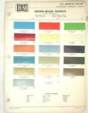 1970 AMC R-M  COLOR PAINT CHIP CHART JAVELIN AMX  MORE