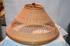 VINTAGE WOVEN Rattan HANGING LAMP SHADE CHAIN RATTAN LIGHTING CHANDELIER