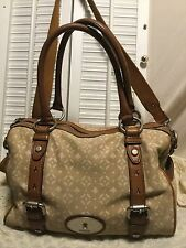 FOSSIL Vintage MADDOX Canvas Leather Doctor Satchel Shoulder Handbag Purse