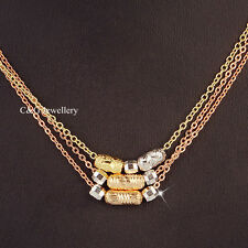 Charm 18k Tri-color Gold Filled GF Mgaic Balls Beads Women Girl Necklace Chain