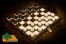 DRAUGHTS CHECKERS - 25cm / 9.9in Handcrafted Wooden Board Game