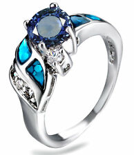 Blue Fire Opal Rainbow sapphire Women Jewelry Silver Plated Ring Size  8 PM09