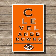 Cleveland Browns Art Football NFL Eyechart Poster Man Cave Decor 12x16""