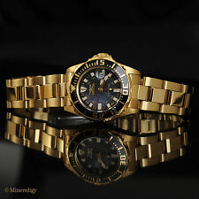 Invicta Womens 23k Gold Plated Black Mother of Pearl Pro Diver $295 Ladies Watch
