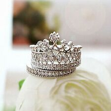 2 PIECE SET PRINCESS CROWN  'SILVER' BAND STACK  Ring CZ CRYSTALS SIZE 7 (O)